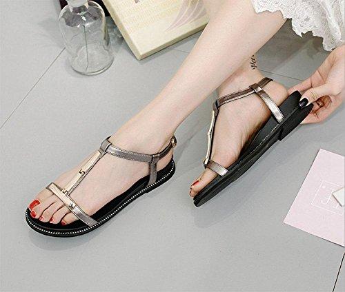 sandali comodi delle donne inferiori molli piana di parola dei sandali casuali delle donne Silver