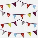 Tissu de coton imprimé | guirlandes de fanions (édition de Noël) - bleu ciel, rouge & blanc 'polka dot', vert anis, gris argent et rouge Bordeaux sur fond blanc | Largeur: 155 cm (1 mètre)