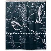 Tenda da doccia 152,4x 182,9cm, Fantasy grafico costellazione dei Pesci, a prova di muffa poliestere tessuto bagno tenda