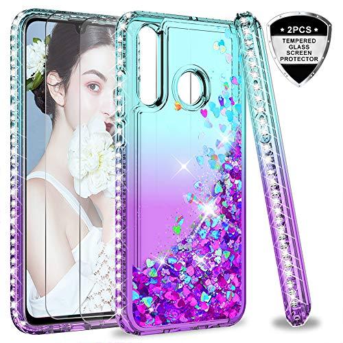 LeYi Hülle Huawei P30 Lite Glitzer Handyhülle mit Panzerglas Schutzfolie(2 Stück), Diamond Cover Bumper Schutzhülle für Case Huawei P30 Lite Handy Hüllen ZX Gradient Turquoise Purple -
