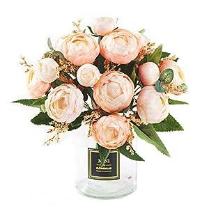 XONOR 2 Paquetes Artificial Ramo de Boda Flor de Camelia Flores Falsas Ramo de Novia para Bodas Decoración para el Hogar, 5 Tenedores 7 Cabezas, 29 cm (3)