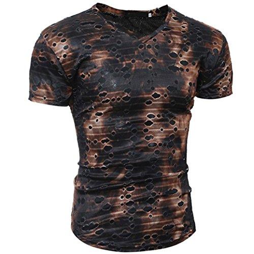 URSING Herren Personality Camouflage Oversize V-Ausschnitt Slim-Fit Kurzarm T-Shirt Vintage Retro Basic Casual Chic Shirts Shirt Sommer Tops Tees Kurzarmshirt Herrenmode (M(Asian M=EU S), Kaffee)