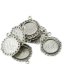 15 Antik Silber Rund Medaillon Anhänger Fassungen Für 3cm
