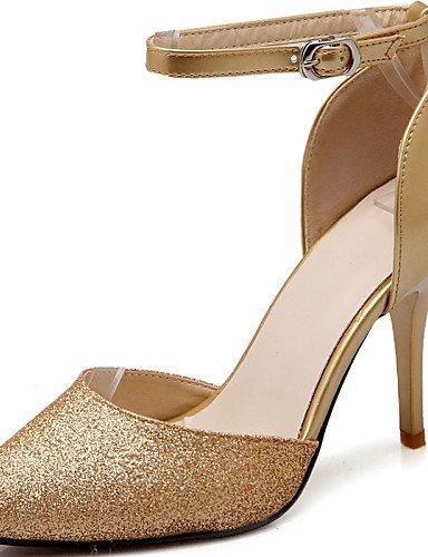 UWSZZ Die Sandalen elegante Comfort schuhe Donna-Sandali - Formale-Tacchi/Slave/tip/Geschlossen - mandrin - Kunstleder - Schwarz/Silber/Golden, golden -6.5-7 US/EU 37/ UK 4,5-5/CN 37, golden -6.5-7 US Blue