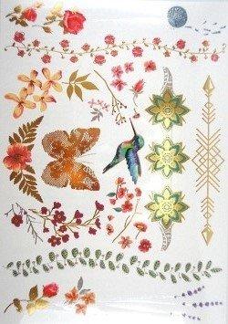 Wunderschöne Tattoos temporäre Tattoos éphemères Kolibri Schmetterlinge Blumen Farben und Gold Promo Tattoos (Wenn Sie möchten kaufen Mehrere Weihnachts: 2gratis wählbar = 2kostenlose zusätzlich zur Auswahl. 3gratis wählbar = 3kostenlose zusätzlich zur Auswahl. 4gekauft wählbar = 4kostenlose zusätzlich zur Auswahl. 5gekauft wählbar = 5kostenlose zusätzlich zur Auswahl). temporäre Tattoos Bestandteile Doree und ARGENTEE ungiftig. Waterproof.