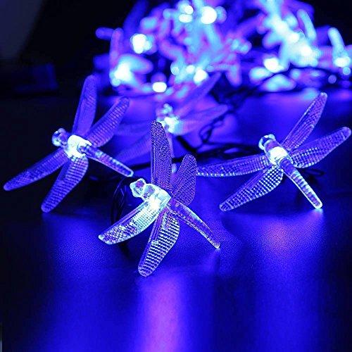 lederTEK Solar Lichterkette 4,8m 20 LED 8 Modi Großlibellen Außenlichterkette Wasserdicht mit Lichtsensor Weihnachtsbeleuchtung, Beleuchtung für Haushalt, Außen, Garten Hochzeit, Weihnachten (blau) - Bild 4