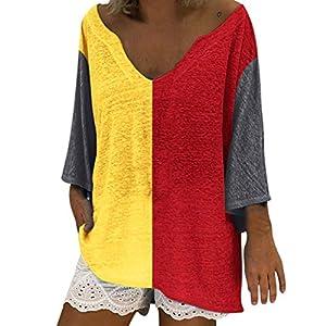 Donna Plus Taglia T-Shirt Vendita Casual a Maniche Lunghe Colore Block Patchwork Top Sciolti per Le Donne(Giallo 3,Large)
