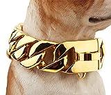 NIGHT WALL Ausgefallene HundehalsbänderDoberman Metal Necklace 30 mm Dog Necklace, Golden, 60cmLederhalsbänder für mittlere Hunde
