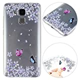 Coque Silicone Huawei Honor 5C Arrière Etui, Moon Mood Mince Slim Motif Papillons...