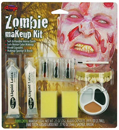 p Fx Kit Zipper Zombie Ladies Men's Vampire Vampires Horror Kit (MU135 Zombie Male) ()