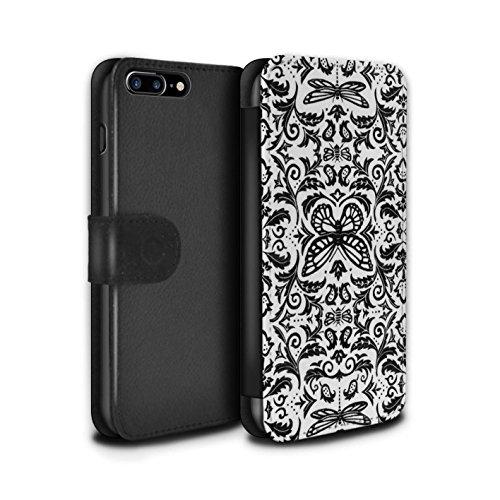Stuff4 Coque/Etui/Housse Cuir PU Case/Cover pour Apple iPhone 7 Plus / Noir / Blanc Design / Motif médaillon Collection Noir / Blanc
