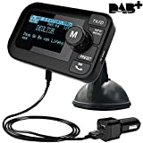FirstE DAB Autoradio Kristall Sound Car Kit, Plug & Play DAB Transmitter Tragbar DAB+ Digitales Radio Adapter mit Bluetooth FM Transmitter +3.5mm Aux-out + USB KFZ Ladegerät + TF Musik spielen+ Freisprechanruf+ 2.3