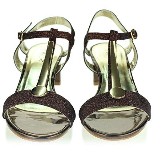 Frau Damen Detail Offener Zeh Fesselriemen Schnallenverschluss Mittel Blockabsatz Abend Leger Party Sandalen Schuhe Größe Bronze