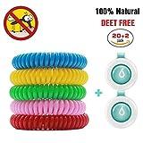 BINWO Mückenschutz, 20+2 Stück Anti Mücken Armband Indoor Outdoor Insektenschutz Armband, Natürliches DEET-freier wasserfester Gegen Moskito Armband Insektenvernichter für Kinder Erwachsene
