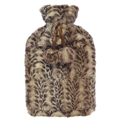 Enfants doux animal en peluche bouteille d'eau chaude en caoutchouc naturel recouvert de fausse fourrure marron