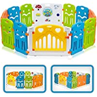 Baby Vivo Laufgitter Laufstall Baby Absperrgitter Krabbelgitter Schutzgitter für Kinder aus Kunststoff mit Tür und Spielzeug - COLORS - Modell 2018