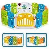 BABY VIVO Laufgitter Laufstall Baby Absperrgitter Krabbelgitter Schutzgitter für Kinder aus Kunststoff mit Tür und Spielzeug - Colors XL