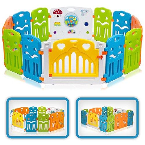 Baby Vivo Laufgitter Laufstall Baby Absperrgitter Krabbelgitter Schutzgitter für Kinder aus Kunststoff mit Tür und Spielzeug - COLORS XL erweiterbar - Modell 2018