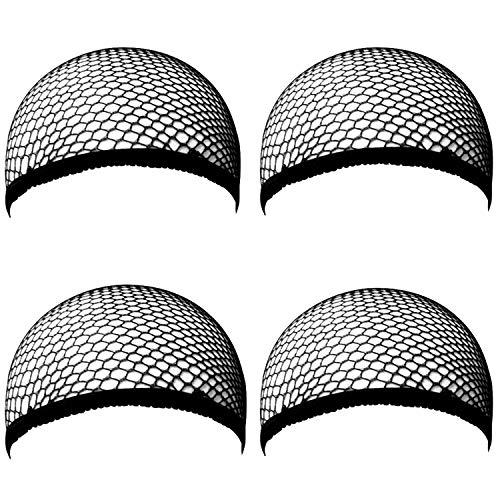 Ouinne 4 Pezzi Parrucca Tappi Copricapo Elastici a Rete Nylon Wig Caps per Donna e Uomo, Nero
