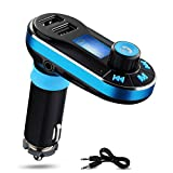 Perbeat Bluetooth FM Transmitter Wireless Receiver Hands free Car Kit Radio Adapter MP3 Player Dual USB Car Charger support SD Card USB Flash Disk for Smart phone, iPhone, iPad,etc (BT66 Blue)