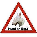 Schecker Auto Aufkleber Hund an Bord Bullterrier inkl. 4 World Sticker Aufkleber Bullterrier