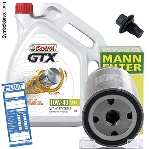 5L Castrol GTX Ultra Clean 10W-40 Motoröl + MANN Filter + Schraube