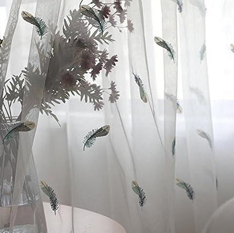 Broderie Curtain Plume Bleu clair Lac vert Linge de lit Fenêtre française Pastorale Rideaux Sheer Salon Chambre-1 Pieces , 1pc(150x260cm)