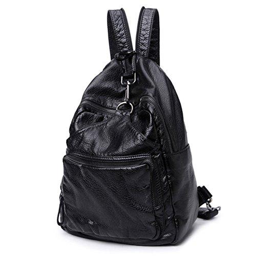 Borsa a tracolla doppia/zaino/Borse moda casual doppia spalla/Sacchetto di scuola-Nero Nero
