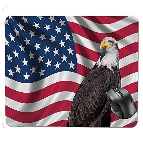 J5E7JYTE Mouse Pad,Patriotic Symbols of The Land with an American Flag with a Bald Eagle Nationalism Decorative Mouse Pad