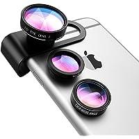 VicTop 3 in 1 alluminio Clip-On Kit Lens - 180 gradi Premium Fisheye + 0.65X grandangolare + 10X obiettivo macro per Iphone SE 6S 6 5S Samsung Cellulari