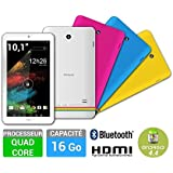 "Tablette POLAROID Rainbow+, 10"" Quad 16 Go MicroSD/USB HDMI Bluetooth Android 4.4 Blanc"