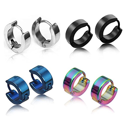 piercingj-8pcs-stainless-steel-hinged-hoop-huggie-earring-black-silver-blue-colorful