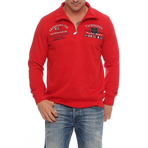 Benter Herren Baumwoll Pullover Sweatshirt Hoodie Winterpullover mit Stehkragen gestickt Logo Patches Yachting Regular Fit 16953 Rot