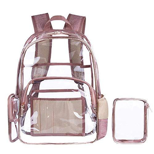 KEKEKEDA Transparenter Rucksack mit Kosmetiktasche, transparent, PVC, mehrere Taschen, Schulrucksack, Outdoor, Büchertasche, Reisen, Make-up, Rose -