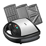 Aicok Sandwich Toaster, Sandwich Press, Waffle Maker 3 in 1, Detachable Non-Stick Coating, 750-Watts, Stainless Steel, Silver