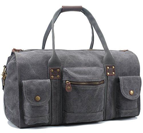 Aidonger Unisex Tela e borsa da viaggio in pelle con grande capacità Dark Gray 49 * 19 * 32cm