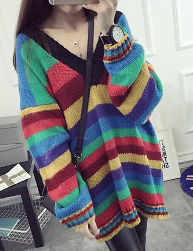 6b71198dcc89b6 BaiChunYunYi Damen Standard Pullover-Lässig/Alltäglich Regenbogen  V-Ausschnitt Langarm.