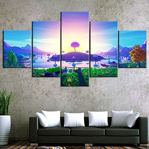 mmwin HD Druck Leinwand 3D Abstrakte Insel Im Sonnenuntergang Typ Poster Home Room Dekorative Moderne Wohnzimmer