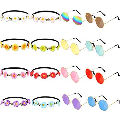 24 Stücke Hippie Kostüm Set mit Runder Hippie Sonnenbrille, Regenbogen Friedenszeichen Halskette, Sonnenblumen Haarbändern für die Festivalparty