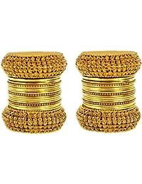 Mansiyaorange Traditional 1 Gram Gold Fancy Designer Party Wedding Wear Antique Golden Bangle Set For Women Stylish...
