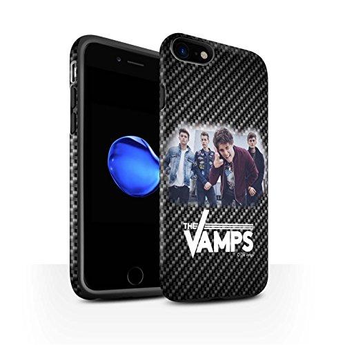 Offiziell The Vamps Hülle / Matte Harten Stoßfest Case für Apple iPhone 8 / Sammelalbum Muster / The Vamps Fotoshoot Kollektion Kohlenstoff