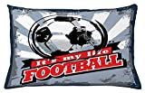 ziHeadwear Soccer Throw Pillow Cushion Cover, Football is My Life Quote in Vintage Grungy Graphic Design Goal Sports Team, Decorative Accent Pillow Case, Blue Black Red22
