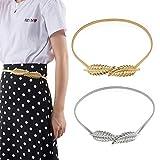 Vordas 2PCS Metálico Elástico Cadena Hoja Cinturón, Cadena de La Cintura de La Hoja para Mujer para Vestido, Fiesta, Boda ect
