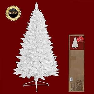 RS Trade® Weiß 150 cm ca. 440 Spitzen künstlicher weißer Weihnachtsbaum mit Metallständer, Minutenschneller Aufbau mit Klappsystem, scher entflammbar, HXT 1015