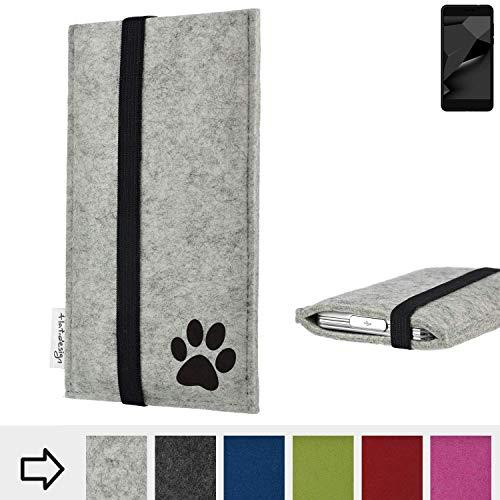 flat.design Handy Hülle Coimbra für Blaupunkt SL Plus 02 individualsierbare Handytasche Filz Tasche fair Hund Pfote tatze