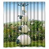 Bart671Lu süßes Shaun Das Schaf Baby personalisierbar wasserdicht Duschvorhang Badezimmer Vorhang 152,4 x 182,9 cm