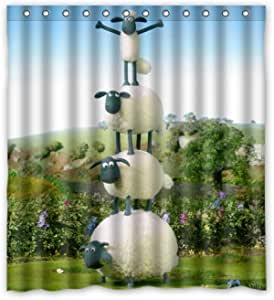 Nat999Lily Cute Shaun The Sheep Baby Customize Waterproof Shower Curtain Bathroom Curtains 60X72 Inches