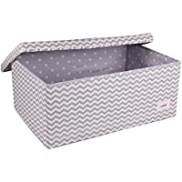 Minene Large Storage Box with Lid Grey Chevron - star storage box, large fabric storage box - great for toy storage, kids storage preiswert