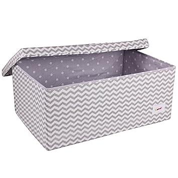 Minene Large Storage Box With Lid Grey Chevron   Star Storage Box, Large Fabric  Storage Box   Great For Toy Storage, Kids Storage: Amazon.co.uk: Baby