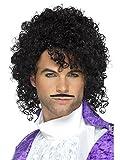 Smiffys Déguisement Homme, Kit du Musicien Violet Années 80, avec Perruque et Moustache, Taille unique, Couleur: Noir, 48005